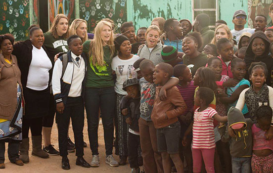 MSU freshmen with African children in South Africa