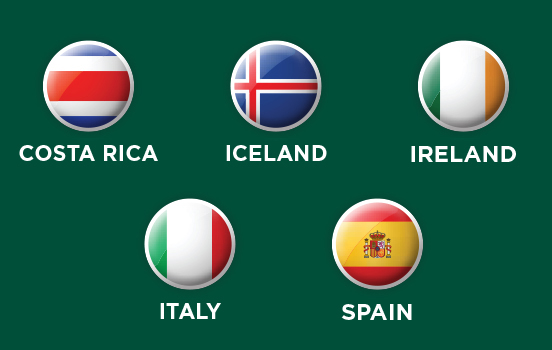 Graphic representing 7 locations for the 2021 First-Year Seminars Abroad Canada, Costa Rica, France, Iceland, Italy, South Africa and the UK