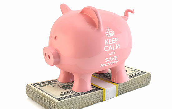Pink piggy bank that says keep calm and save money