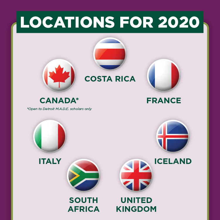 Graphic representing 7 locations for the 2020 First-Year Seminars Abroad Canada, Costa Rica, France, Iceland, Italy, South Africa and the UK