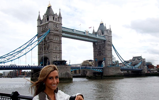Student near Tower Bridge in London England