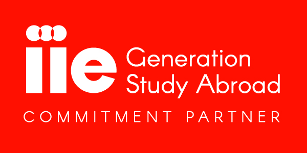 Logo showing an airplane with the following text: Generation Study Abroad IIE. Opening Minds to the world. Commitment Partner